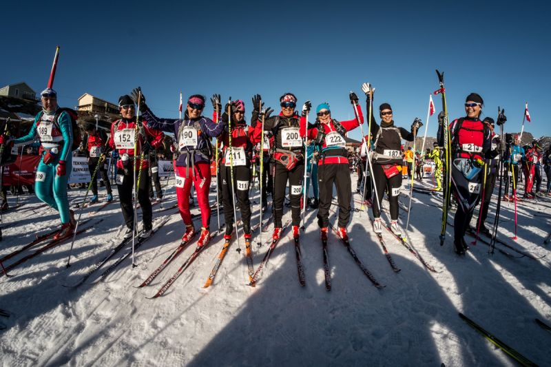 Group shot of arctic skiers