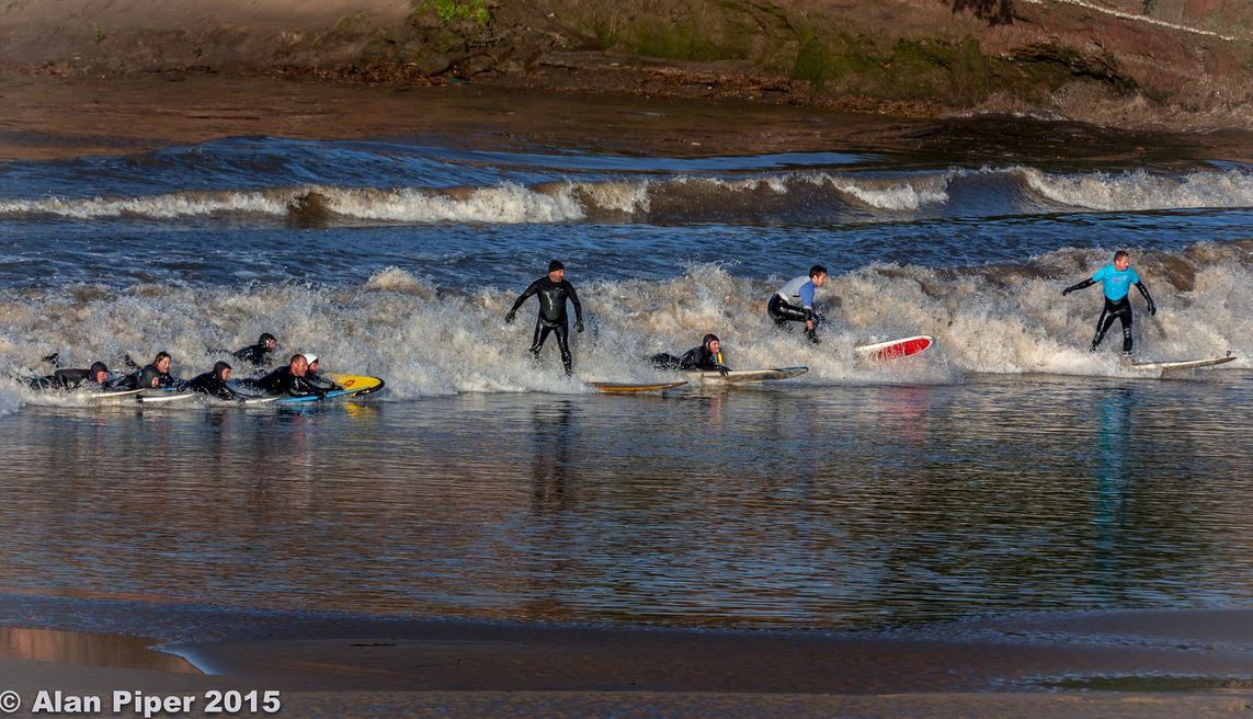 Surfing at the Severn Bore