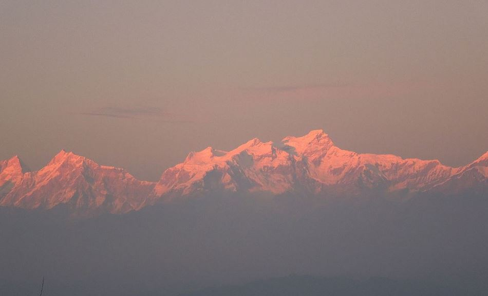 Himalayas at sunset
