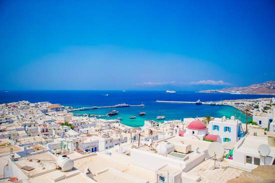 best beaches in Mykonos view from the town and port