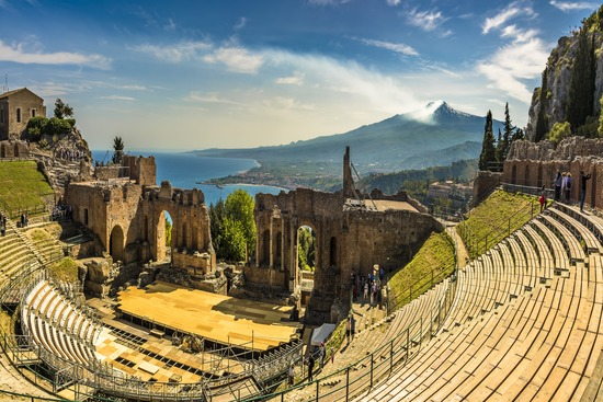 panorama from the ancient Greek theatre in Taormina Sicily with sea