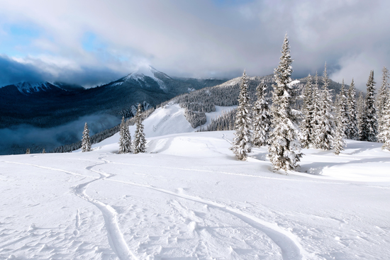 Panorama from big white resort in British Columbia Canada
