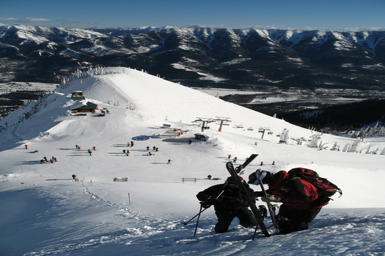 Panorama with ski piste at Fernie Alpine resort in British Columbia Canada