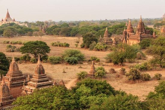temples at bagan panorama in mynmar south est asia