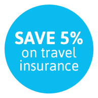 SAVE 5% on travel insurance