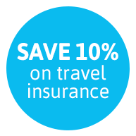 SAVE 10% on travel insurance