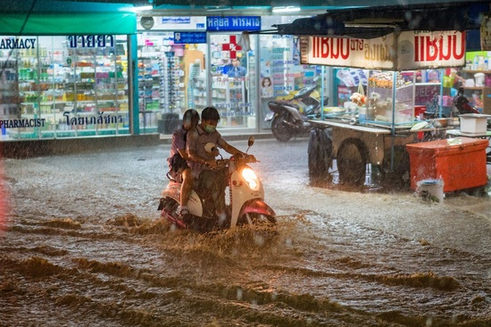 The streets in Thailand can flood quickly in rainy season
