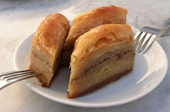 Baklava is a popular desert in Turkey. It is layers of filo pastry, filled with nuts and bonded with syrup or honey