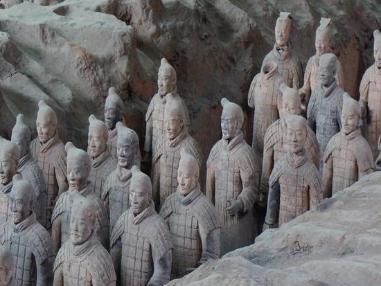 Stone terracotta army in Mausoleum of First Qin Emperor in China