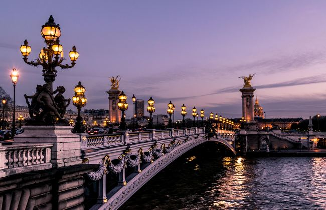Bridge at night in Paris, France