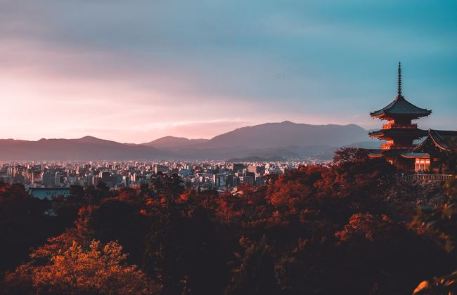 View of trees and city during sunrise in Kyoto, Japan